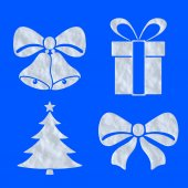 Christmas objects icons made of snow on blue set — Stockfoto