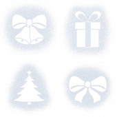 Snow mark of christmas objects on white set — Stockfoto