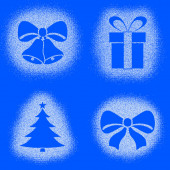 Snow mark of christmas objects on blue set — Stockfoto