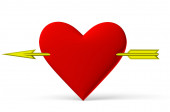 Red heart symbol with golden arrow — Stock Photo