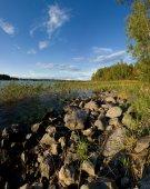Ladoga lake lakeside in sunset — Stock Photo