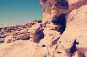 Landscape, Limestone precipice with cave with Instagram style fi — Stock Photo