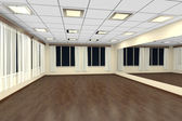Empty training dance-hall at night with yellow walls and dark wo — Stockfoto