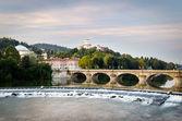 Turin (Torino), river Po and Monte dei Cappuccini — Zdjęcie stockowe