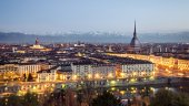 Turin (Torino), panorama at blue hour — Stock Photo