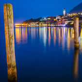 Lake Garda, Town of Limone sul Garda (Lombardy, Italy) at blue hour — Stock Photo