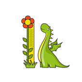 Cute little dragon with height measuring scale — Stock Vector