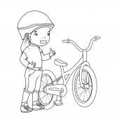 着色书: 自行车的女孩 — Vecteur
