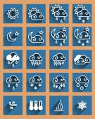 Weather forecast flat icons set — Stock Vector