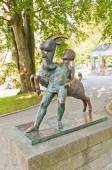 Boy and goat sculpture (1925). Stavanger, Norway — Stock Photo