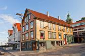 Häuser am blauen promenade von stavanger, norwegen — Stockfoto