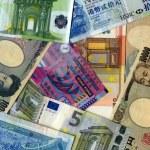 Background. Yens, Euro and HK dollars — Stock Photo #52431285