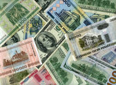 Background. US dollars and Belarus rubles  — Stockfoto