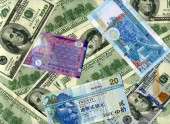 Background. US dollars and HK dollars — Stock Photo