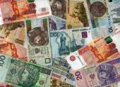 Background. Russian rubles and Polish zloty — Stock Photo