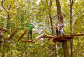 Ropes courses in Fili Park, Moscow — Stock Photo