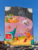 Surrealistic mural Time Machine — Stock Photo