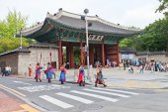 Royal Guards Ceremony in Deoksugung Palace. Seoul, Korea — Stock Photo