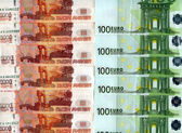 Background. Euro banknotes and Russia rubles  — Stock Photo
