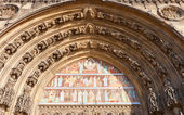 Tympanum of Saint-Laurent church (XV c.) in Paris — Stock Photo