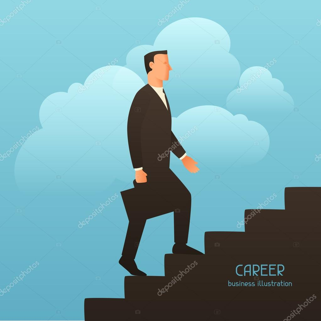 career business conceptual illustration businessman going career business conceptual illustration businessman going upstairs image for web sites articles magazines stock illustration