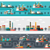 Seamless patterns of industrial power plants in flat style. — Stock Vector