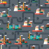 Seamless pattern of industrial power plants in flat style. — Stock Vector