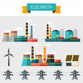 Electricity set of industry power plants in flat design style. — Vecteur