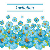 Design of invitation card with pretty stylized flowers. — Stock Vector
