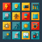 Set of industry power icons in flat design style. — Vector de stock