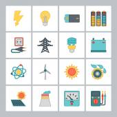 Set of industry power icons in flat design style. — Stock Vector