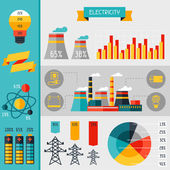 Electricity set of industry power infographic in flat style. — Stock Vector