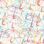 Seamless mönster med söta multicolor platt paraplyer. — Stockvektor