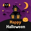 Happy halloween greeting card in flat design style. — Stock Vector #52124185