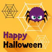 Happy halloween greeting card in flat design style. — Cтоковый вектор