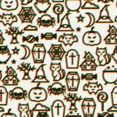 Happy halloween seamless pattern  with effect overlay. — Stockvektor