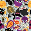 Happy halloween seamless pattern with flat sticker icons. — Stock Vector #52270601