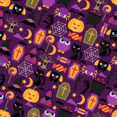 Happy halloween seamless pattern with flat icons. — Stock Vector