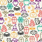 Happy halloween seamless pattern with flat icons. — Vetorial Stock