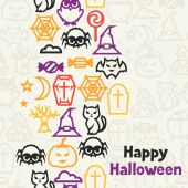 Happy halloween greeting card with flat icons. — Stock Vector