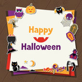 Happy halloween greeting card with flat sticker icons. — Stock Vector