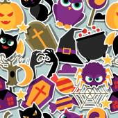 Happy halloween seamless pattern with flat sticker icons. — Stockvektor