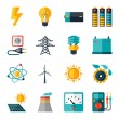 Set of industry power icons in flat design style. — Stock Vector #52338625