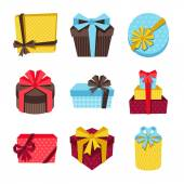 Celebration icon set of colorful gift boxes. — Stock vektor