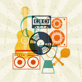 Background with musical instruments in flat design style. — Stock Vector