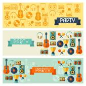 Horizontal banners with musical instruments in flat style. — Stock Vector