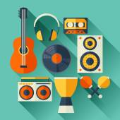 Set of musical instruments in flat design style. — Stock Vector