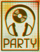 Party retro poster in flat design style. — Stock Vector