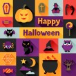 Happy halloween greeting card in flat design style. — Stock Vector #52522535