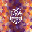 Happy halloween greeting card with badges ang icons. — Stock Vector #52522549